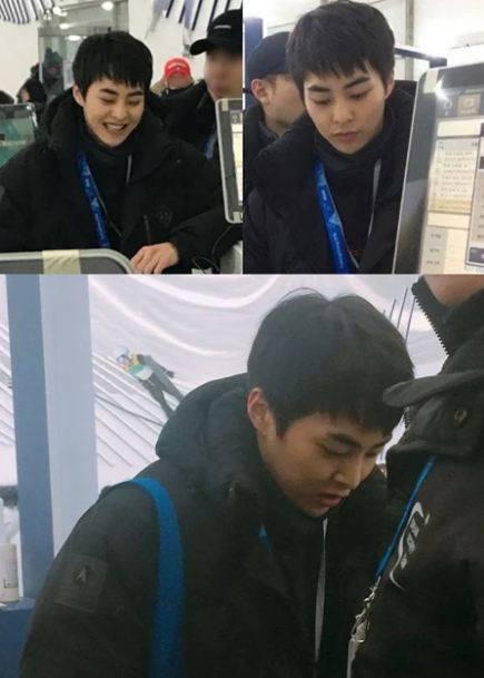 Kwikku, Member EXO yang hadir bukan hanya Suho saja Xiumin juga kedapatan menonton Olimpiade Pyeongchang
