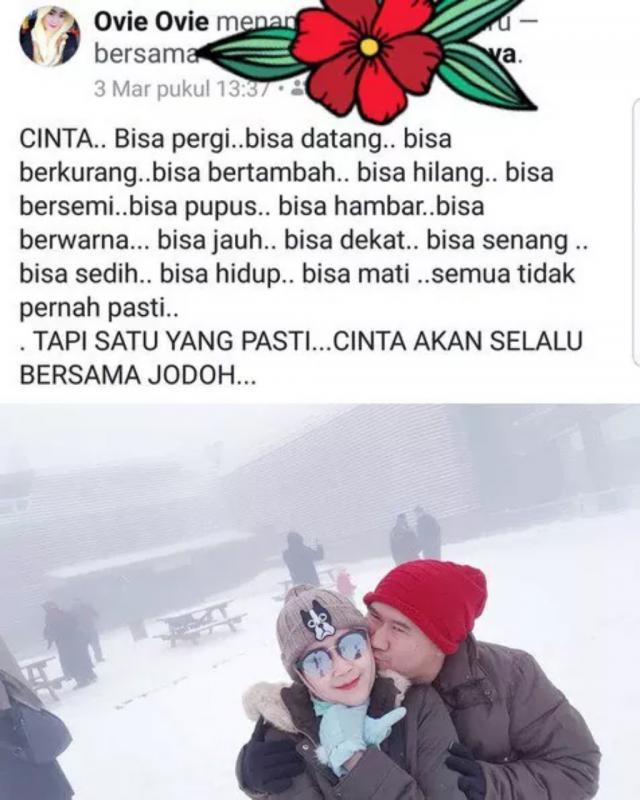 Kwikku, Melalui media sosial miliknya Bu Dendy juga mengungkapkan kebahagiannya dengan katakata yang romantis