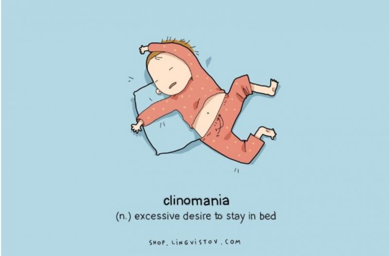 Kwikku, Jika orang yang sulit tidur mengidap insomnia maka orang yang hobby tidur terkena clinomania