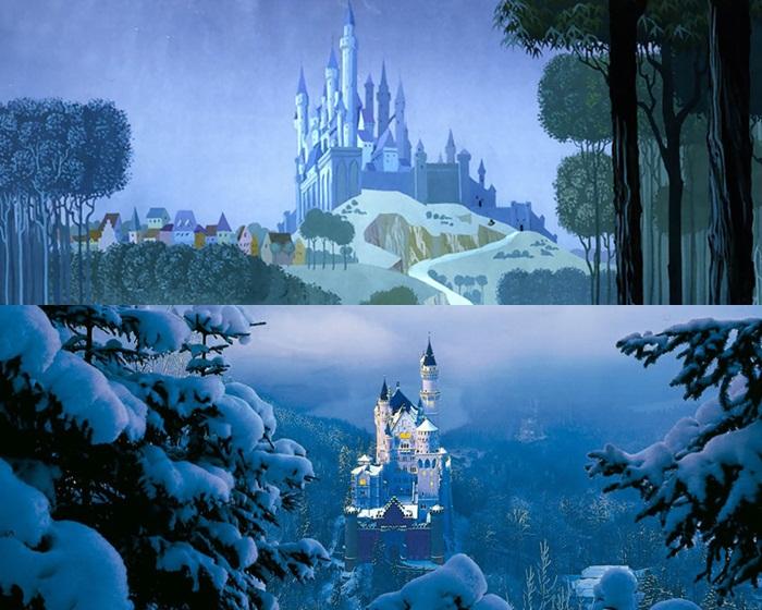 Kwikku, Castil yang ada di film Sleeping Beauty tampak mirip dengan Neuschwanstein Castle di Bavaria Jerman