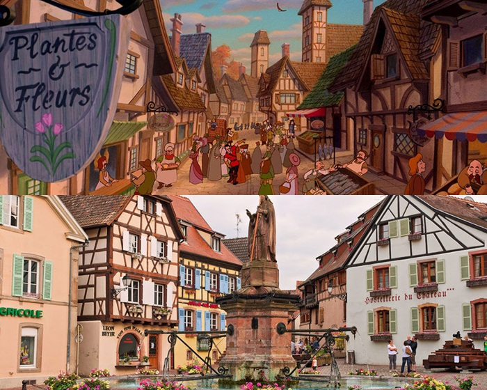 Kwikku, Pemandangan desa di film Beauty and The Beast juga terlihat mirip dengan alunalun di Kota Alasce Prancis