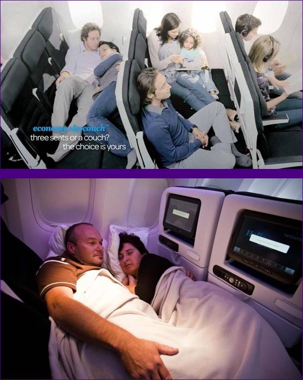 Kwikku, Air New Zealand menyediakan kursi untuk keluarga yang bisa disetting lurus sehingga tidak ada sekat antar kursi So enjoy banget kalau ada pasangan atau keluarga yang ingin berkumpul ditengah perjalanan jauh