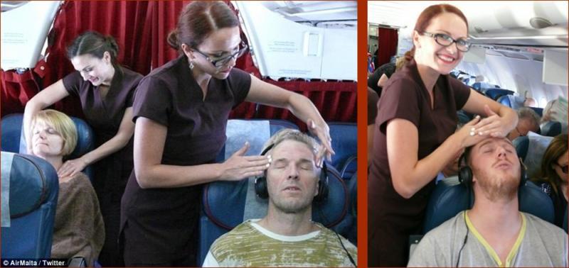 Kwikku, Maskapai Air Malta memberikan pijatan gratis kepada penumpang kelas ekonomi Pijatan tersebut bisa membuat penumpang tertidur