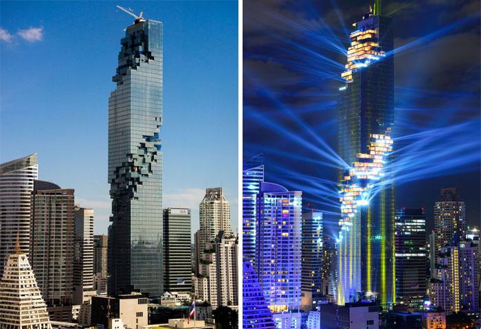 Kwikku, Selain memiliki bentuk layaknya puzzle yang keren banget Mahanakhon Tower yang ada di Bangkok ini tampak nggak kalah keren saat malam hari dengan lampu yang bersinat terang tersebut