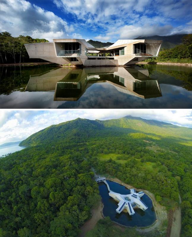 Kwikku, Bangunan Stamp House di Australia ini terletak di tengan danau dengan desain futuristik