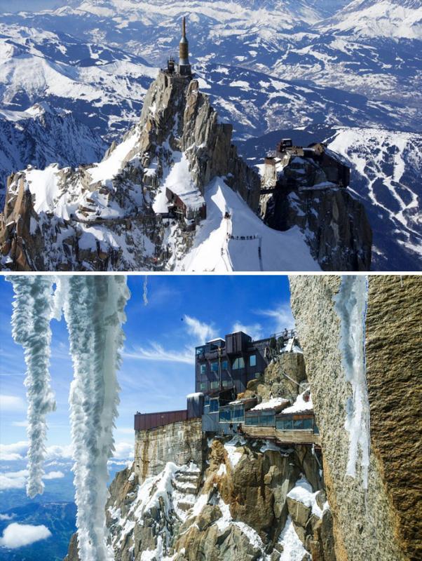 Kwikku, Dan gedung Aiguille Du Midi di pegunungan Alpen ini tampak keren banget Apa lagi jika di shoot dari atas