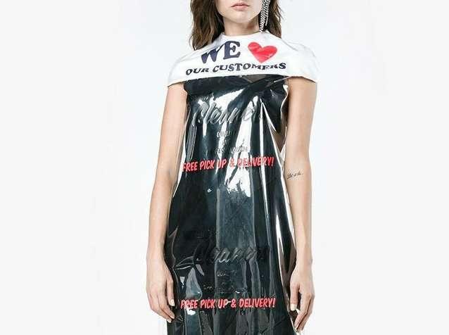 Kwikku, Moschino memang dikenal dengan karyanya yang nyentrik Brand fashion tersebut sempat membuat gaun seperti plastik dycleaning seperti ini