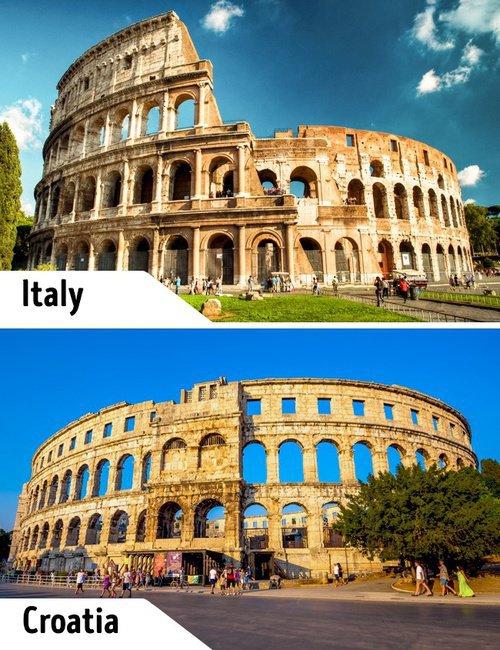 Kwikku, Samasama sebagai tempat pertarungan gladiator Colosseum di Italia juga memiliki bangunan yang sama seperti Pula Arena di Kroasia ini