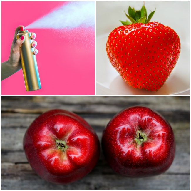 Kwikku, Mereka menyemprotkan deodoran agar ada efek mengkilap saat buah apel di potret Bakal dimakan nggak ya