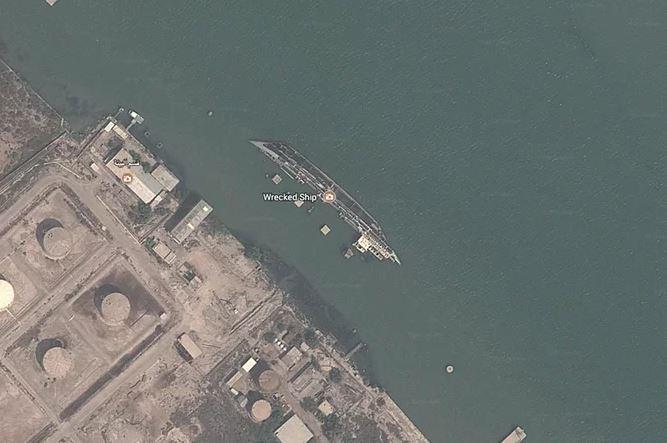 Kwikku, Penampakan kapal Capsized in di Irak yang terbalik kemudian tengelam di perbatasan Irak dan Iran berhasil terekam oleh Google Earth