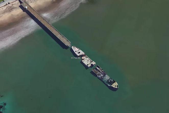 Kwikku, Kapal SS Palo Alto awalnya dibuat untuk keperluan Perang Dunia I Setelah berakhir kapal ini menjadi salah satu destinasi wisata namun akhirnya kara karena badai yang menghantamnya