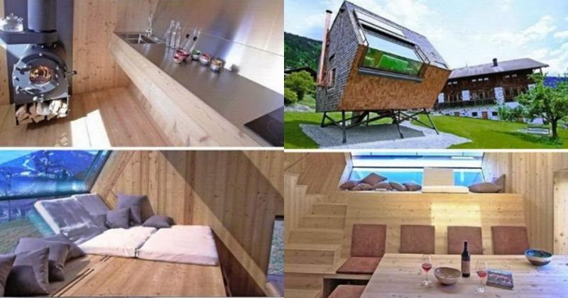 Kwikku, Peter Jungmann membuat rumah mungil dan dinamai dengan Ufo Gel Uniknya rumah ini terbuat dari kayu