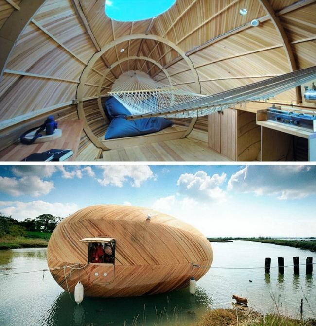 Kwikku, Rumah dengan desain layaknya telur raksasa ini dibuat oleh arsitek kreatif bernama Stephen Turner Rumah ini juga bisa berpindah tempat sekalipun berada diatas permuakaan air