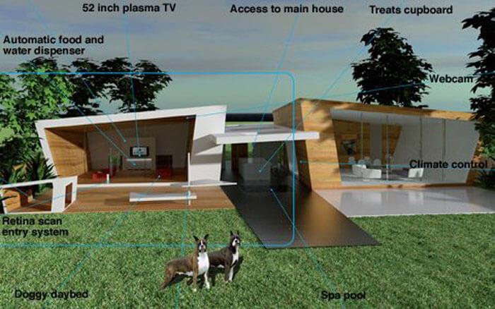 Kwikku, Seorang arsitek asal Inggri menghabiskan biaya Rp  miliar untuk membuat kandang si anjing kesayangan yang dilengkapi dengan alat pantau mesin pemberi makan otomatis hingga fasilitas mewah lainnya