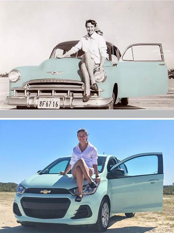 Kwikku, Berpose di atas mobil seperti yang dilakukan nenek  tahun lalu