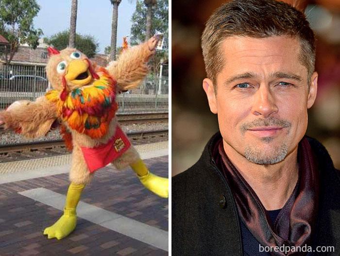 Kwikku, Brad Pitt pernah bekerja sebagai kostum penghibur di sebuah restoran di Hollywood bernama An El Pollo Loco