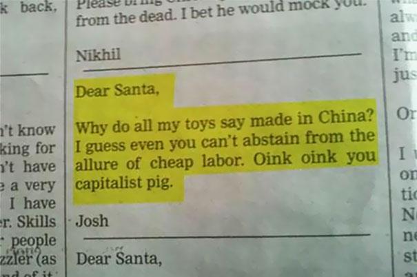 Kwikku, Hahaha dia ngeluh ke Santa kalau mainannya buatan Cina semua