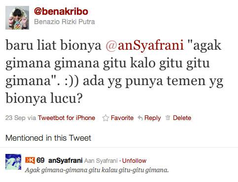 Kwikku, Bena Kribo emang jagonya bikin twit humor yang agak agak gimana gitu