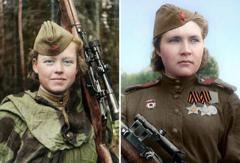 Kwikku, Nadezhda Kolesnikov dan Lyuba Makarova berada pada barisan depan selama Perang Great Patriotic Uni Soviet pada tahun