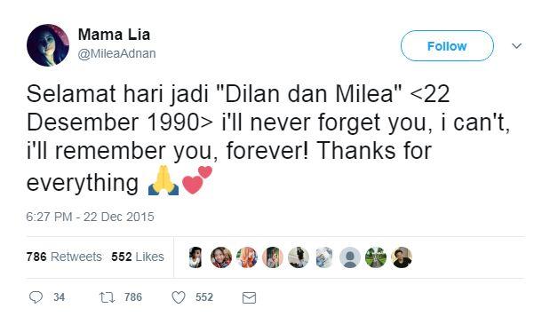 Kwikku, Milea tetap mengingat Dilan walaupun tahun terus berganti