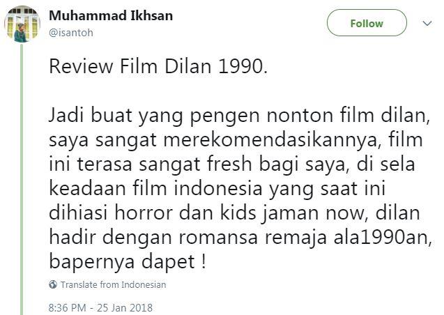Kwikku, Meskipun diperankan oleh kids zaman now tapi Dilan  berhasil membawa penonton flashback ke era an