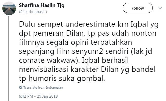 Kwikku, Iqbaal menjelskan kepada media bahwa Dilan dalam film Dilan  adalah bentuk visualisasi terbaik dari segala ekspektasi