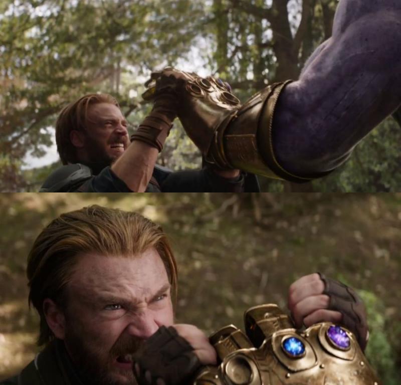 Kwikku, Di akhir trailer tampak Captain Amerika dengan Titan beradu jotos Satu tangan Thanos ditahan oleh kedua kepalan Steve Rogers Penonton bakalan bisa melihat seberapa kuat tenaga sang kapten dalam melawan raksasa lalim
