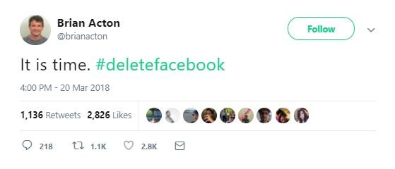 Kwikku, Gunakan Tagar Delete Facebook
