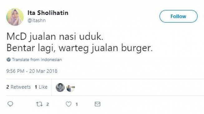 Kwikku, Kata warganet tentang nasi uduk McD