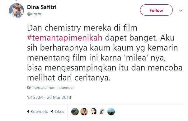 Kwikku, Chemistry Vanesha dan Adipati dinilai membuat penonton terbawa ke dalam kisah Ayu dan Ditto