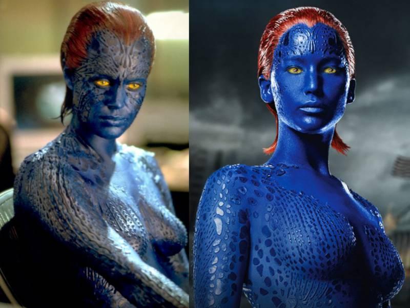 Kwikku, Mystique memiliki ciri rambut merah dan bertubuh biru Dalam versi lama diperankan oleh Rebecca Romijn Sedangkan yang terbaru dimainkan oleh Jennifer Lawrence