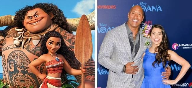 Kwikku, Karakter Moana dan Maui diisi oleh Aulii Cravalho dan Dwayne Johnson Keduanya bahkan tampak mirip ya guys dengan karakter kartunnya