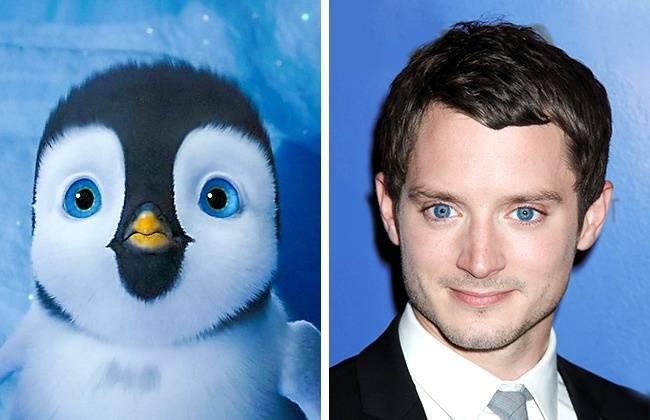 Kwikku, Elijah Wood dan Mumble samasama punya warna bola mata biru