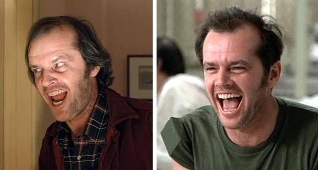 Kwikku, Jack Nicholson saat berperan antagonis di film The Shing dan protagonis di film One Flew Over The Cuckoos Nest