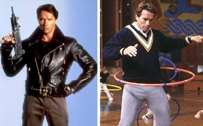 Kwikku, Dua karakter yang bertolak belakang peran dibawakan Arnold Schwarzenegger di film Terminator dan Kindergarten Cop