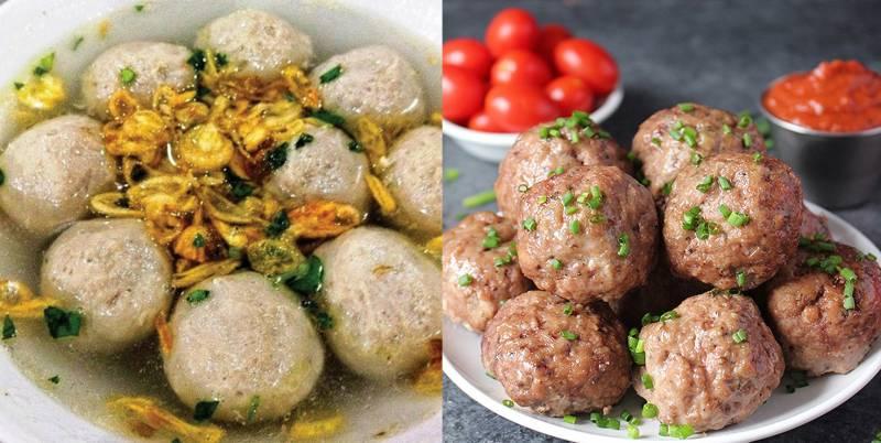 Kwikku, Di Indonesia bola daging lebih dikenal dengan nama bakso yang diberi kuah Ada juga yang dibakar Sedangkan di luar negeri mereka menyebutnya meatball yang diberi taburan daun bawang