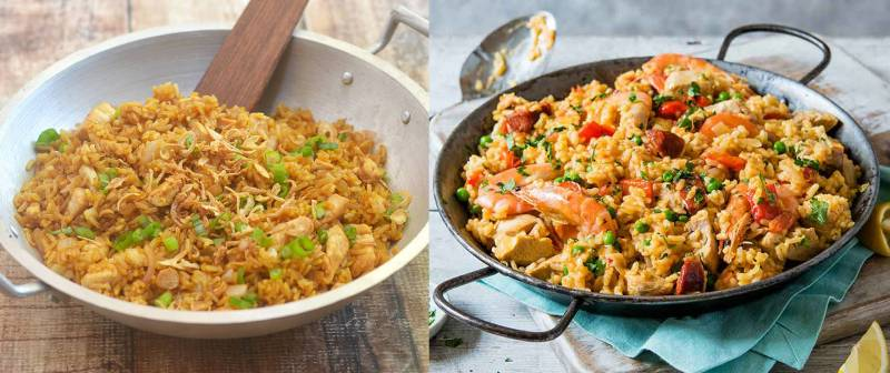 Kwikku, Di Spanyol nasi yang digoreng dan dibumbui dan dilengkapi dengan ayam diberi nama Paella Mirip banget kan
