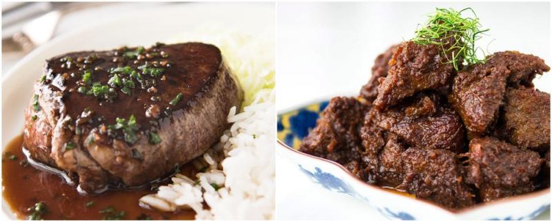 Kwikku, Samasama berbahan dasar daging sapi steak dan rendang sekilas memang terlihat sama Namun rendang dibuat dengan rempahrempah pilihan sehingga rasanya lebih kuat