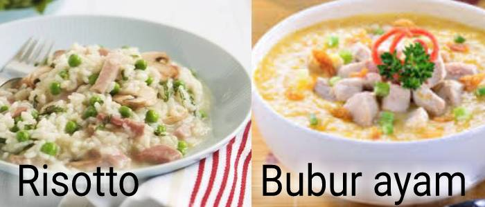 Kwikku, Di Italia risotto memiliki rasa yang lebih dan berupa bubur Sedangkan di Indonesia ada bubur ayam yang tak kalah lezatnya