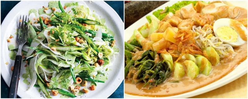 Kwikku, Gadogado dan salad memiliki komposisi yang sama yakni sayur mayur dan telur Hanya saja gadogado diberi topping kacang sedangkan salad hanya olive oil