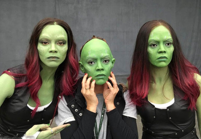 Kwikku, Hayo mana yang Zoe Saldana Gamora dan mana stuntwomannya