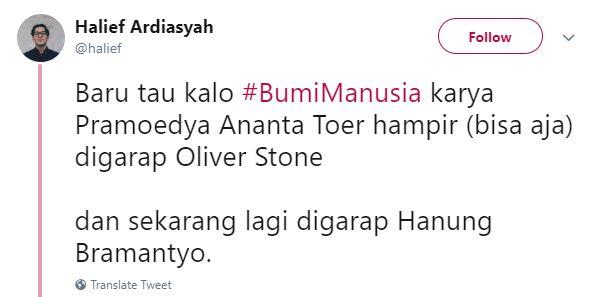 Kwikku, Bangga dong Bumi Manusia digarap oleh orang Indonesia sendiri bukan malah Oliver Stone