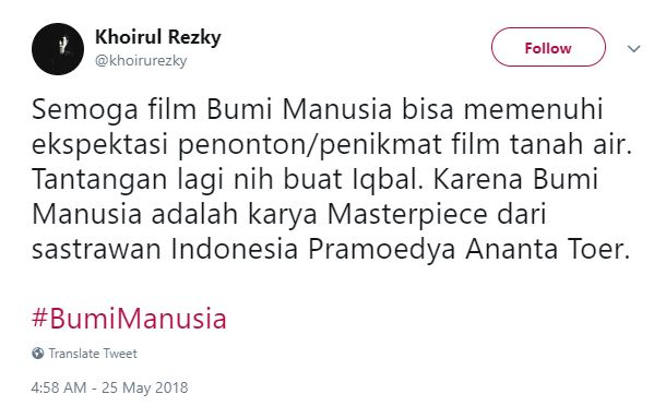 Kwikku, Kita doakan yang terbaik untuk film Bumi Manusia Sukses semuanya