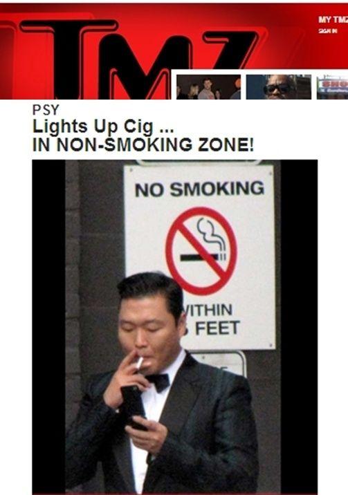 Kwikku, Bukannya tentang PSY yang tertangkap kamera sedang merokok tetapi karena ia sedang melakukannya di depan tanda No Smoking