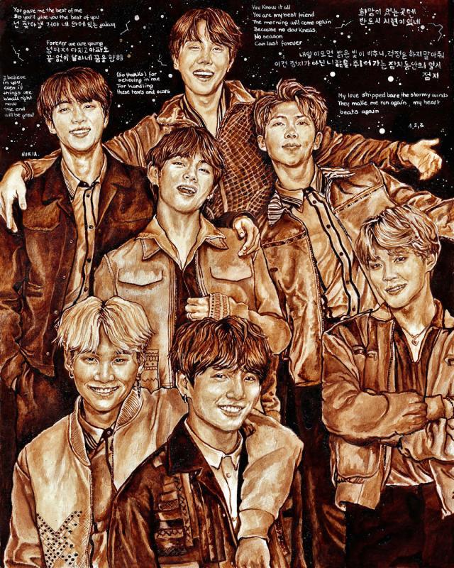 Kwikku, Ilustrasi terbaru BTS dibuat dengan kopi dan pensil coklat di atas kertas Canson  X  cm Tak lupa pula disertakan lirik lagu yang ditulis dengan tinta putih