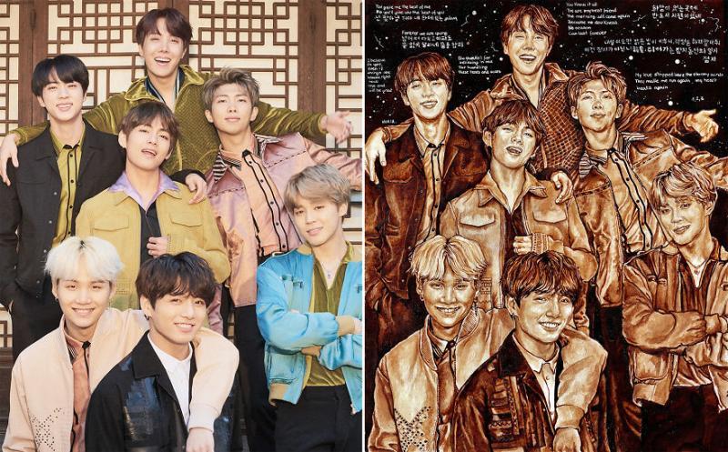 Kwikku, Referensi fotonya sendiri menggunakan poster Billboard Sementara background diganti dengan lirik yang ARMY kirimkan pada ilustrator melalui Twitter
