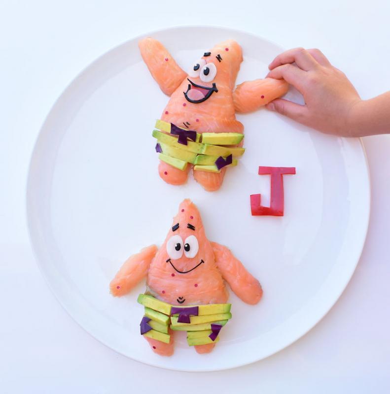 Kwikku, Ikan dan alpukat bisa kok dibuat dengan karakter Patrick gini Lebih menggiurkan kan