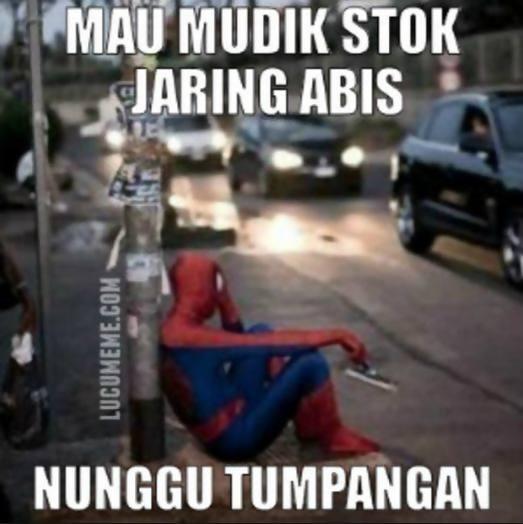 Kwikku, Kasian Spiderman mau mudik nggak bisa karena stok jaringnya abis Laris manis mau lebaran