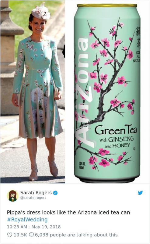 Kwikku, Motif gaun Pippa Middleton yang mirip dengan kemasan teh Arizona