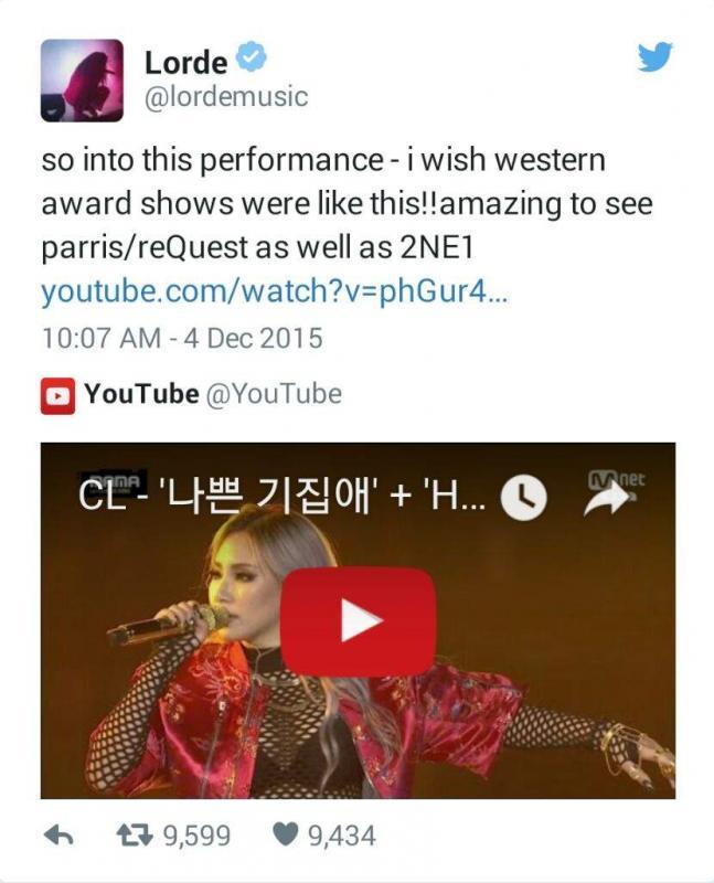 Kwikku, Lorde mengaku bahwa dirinya mulai kenal NE dan Girls Generation dari teman sekolah Bahkan secara khusus ia pernah bercakapcakap dengan CL di Twitter